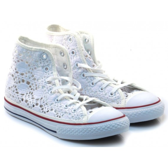 Converse All Star Sneakers Alte Bambinia CTAS HI Uncinetto Bianco