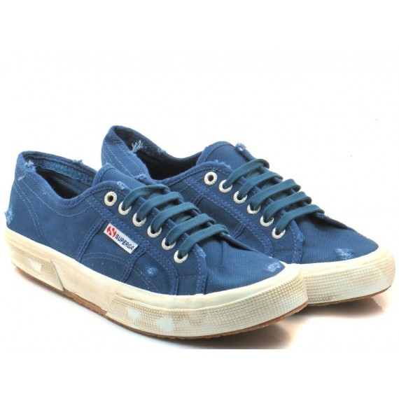 Superga Men's Sneakers 2750 CotuStone Wash Blue Smoky S0037L0
