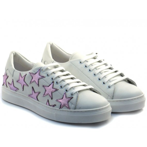 Gio+ Sneakers Basse Donna Pelle Bianco Stelle Rosa M1012