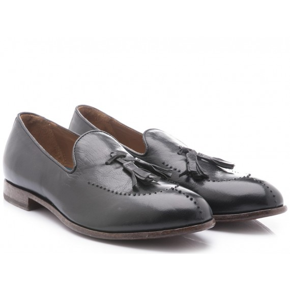 Moma Men's Shoes Loafers Black Leather 11705-SA