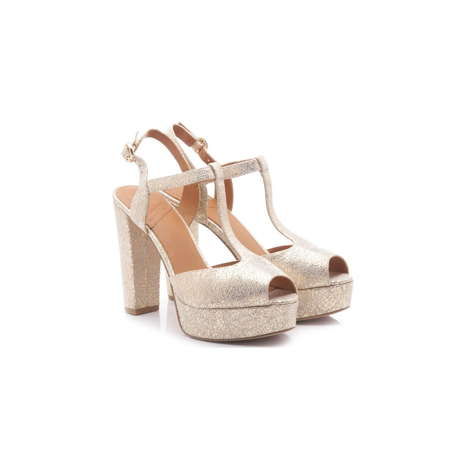 What For Women's Sandals High Heel Leather Beige Lamè