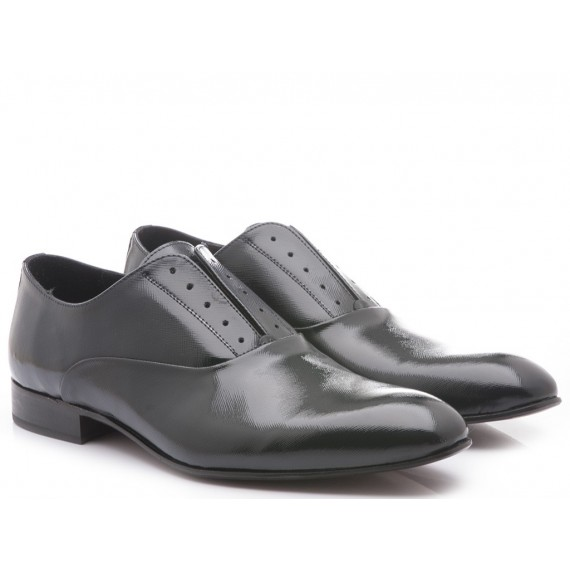 Eveet Men's Classic Shoes Patent Blue Leather