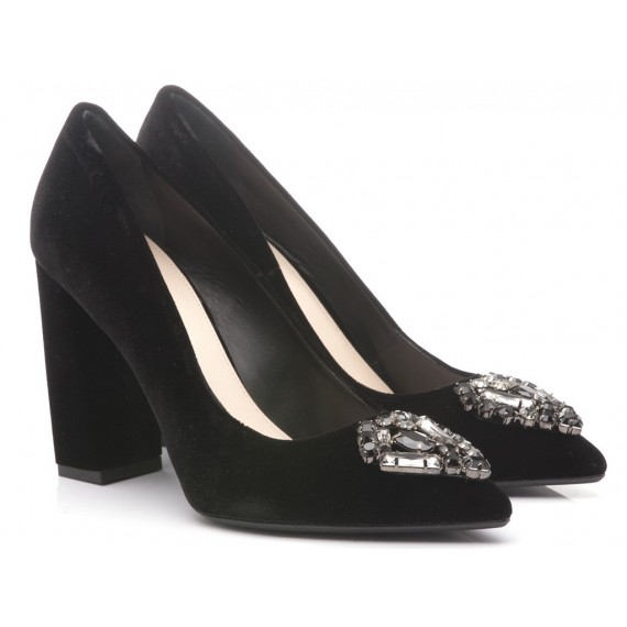 Chantal Woman's Shoes Decolletè Velvet Leather Black