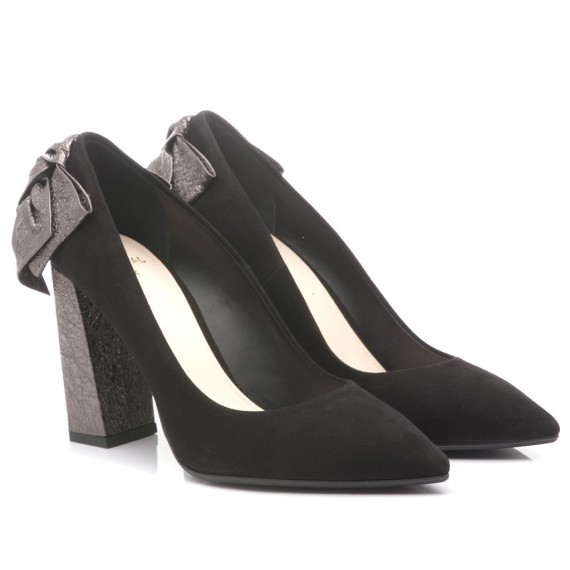 Chantal Woman's Shoes Decolletè Suede Leather Black