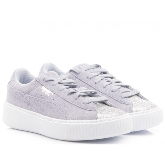 Puma Sneakers Bambina Suede Platform Glam Ps Silver-Icelandic Blue