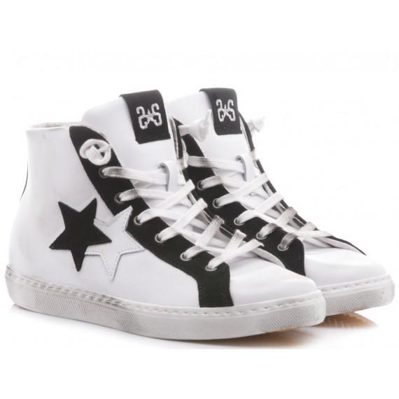 2-Star Sneakers Alte Bambini Pelle Bianco-Nero 2SB-1061