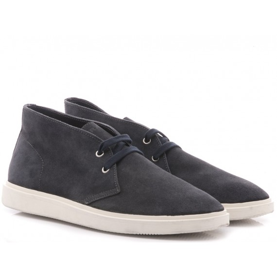 Frau Men's Shoes-Ankle Boots Suede Blu