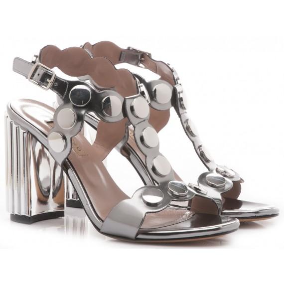 Albano Women's Sandals High Heels 2468 Leather Gunmetal