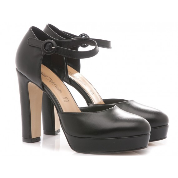Albano Women's Shoes High Heels 5161 Black Leather