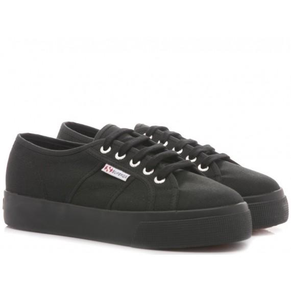 Superga Women's Sneakers Wedge Heel 2730 COTU Black