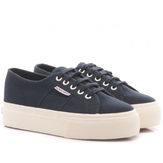 Superga Women's Sneakers Wedge Heel 2790A CotW Line Up And Down Full Navy S0001L0