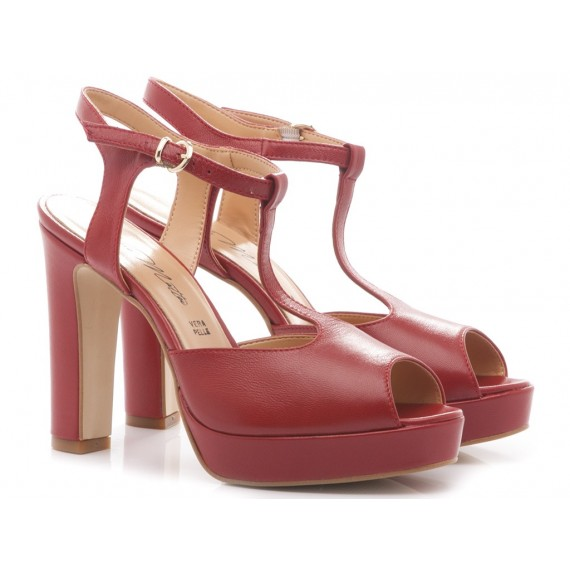 Albano Women's Shoes High Heels 52720 Red Leather