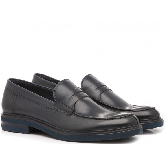 Franco Fedele Men's Shoes Loafers Leather Lornat Blu