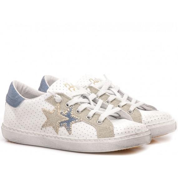 2-Star Sneakers Basse Bambini Pelle Bianco-Azzurro 2SB-1110