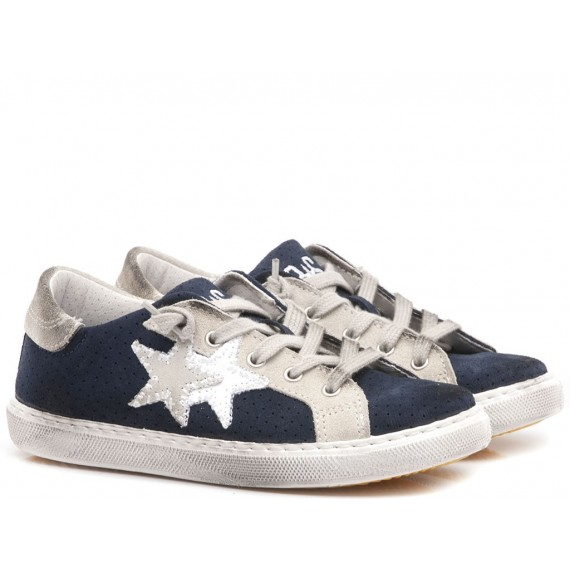 2-Star Sneakers Basse Bambini Pelle Bianco-Blu 2SB-1130