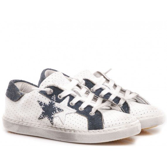 2-Star Children's Low Sneakers White-Blu Leather 2SB-1112