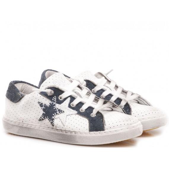 2-Star Sneakers Basse Bambini Pelle Bianco-Blu 2SB-1112