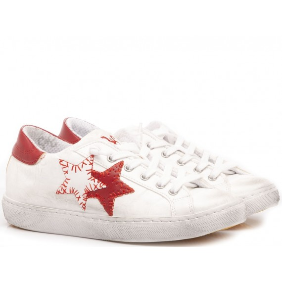 2-Star Sneakers Basse Bambini Pelle Bianco-Rosso 2SB-1101