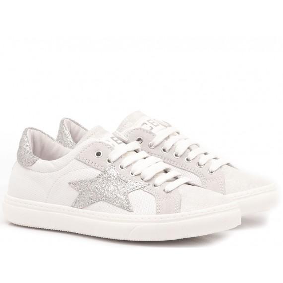 Ciao Sneakers Bambina Pelle Bianco-Argento 3744