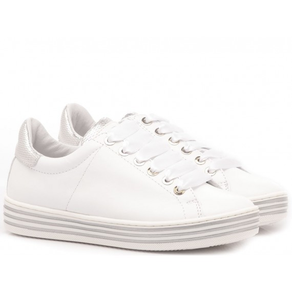 Ciao Children's Sneakers Leather White-Silver 3732