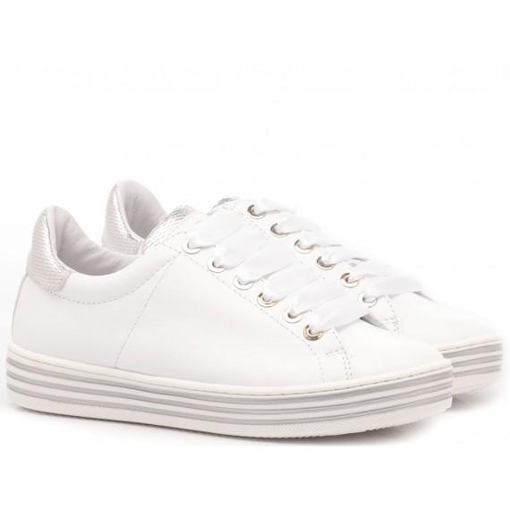 Ciao Sneakers Bambina Pelle Bianco-Argento 3732