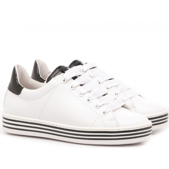 Ciao Sneakers Bambina Pelle Bianco-Nero 3732