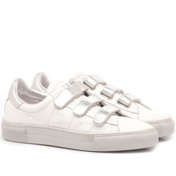 Ciao Sneakers Bambina Pelle Bianco-Argento 3752
