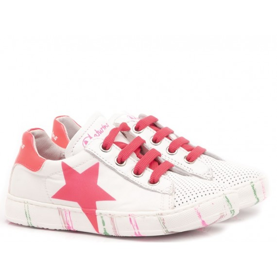 Naturino Children's Shoes Sneakers Leather White-Fuxia