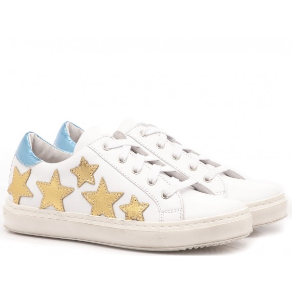 Méliné Girl's Sneakers White-Gold Leather
