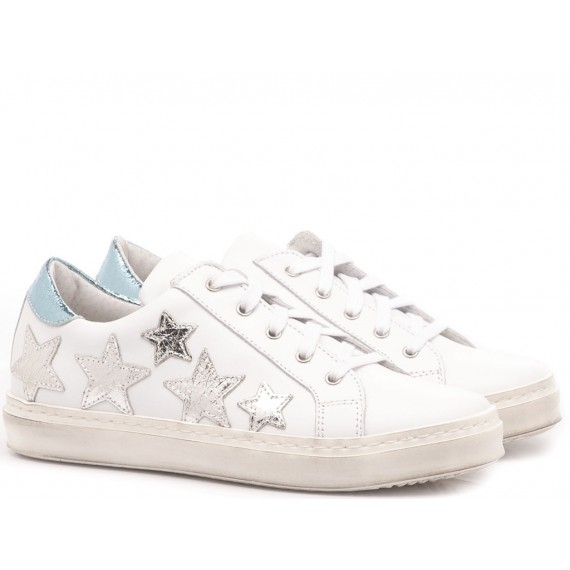 Méliné Girl's Sneakers White-Silver Leather