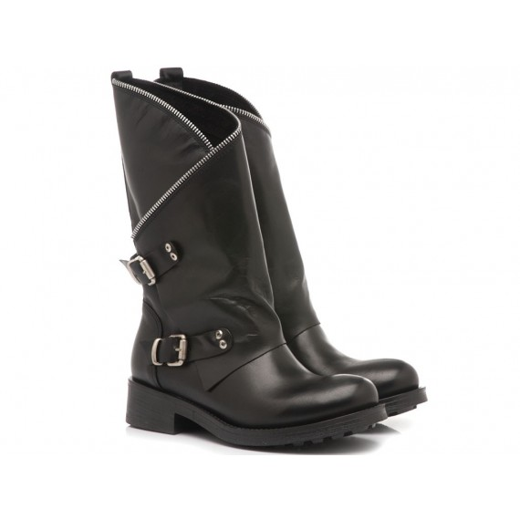 Metisse Women's Shoes Boots Black Leather MU19
