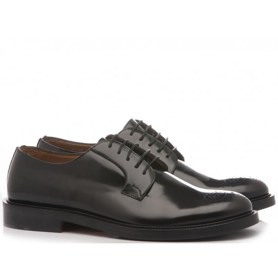Franco Fedele Men's Classic Shoes Derby Black Leather 6139