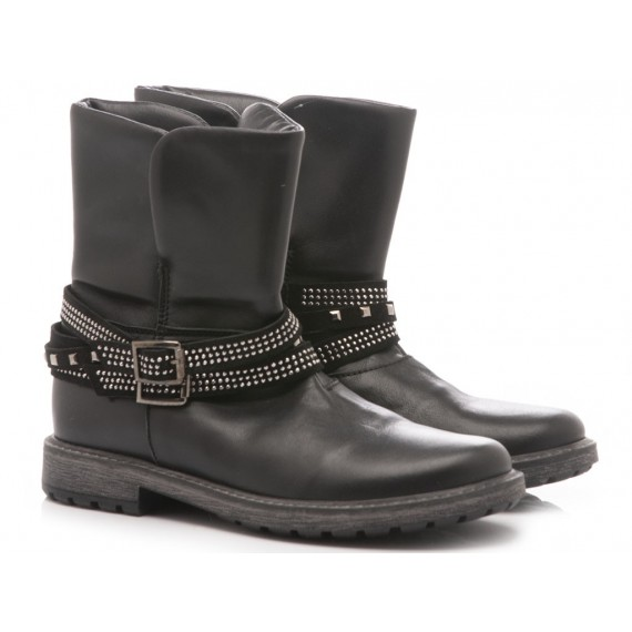 Panda Children's Ankle Boots Leather Black