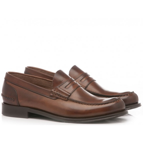 Brecos Men's Loafers Leather Brandy 8826E19