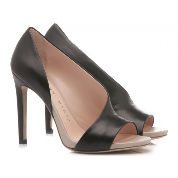 Gianni Marra Women's Décolleté Open Toe Leather Black