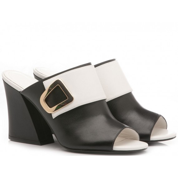 What For Sandali Sabot Donna Pelle Bianco-Nero