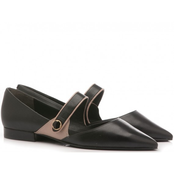 What For Ballerine Donna Pelle Nero