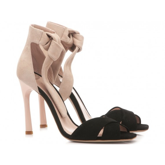 Gianni Marra Women's Sandals High Heel Suede Black-Nude