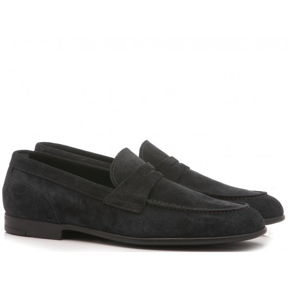 Marco Ferretti Men's Shoes Loafers Suede Blu