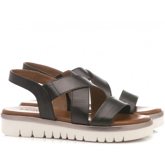 INUOVO Women's Sandals Flat Platform Black 109004