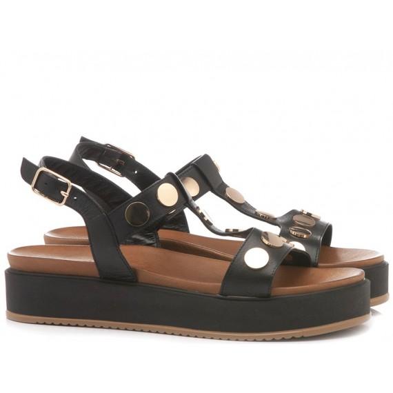 INUOVO Women's Sandals Flat Platform Black 112010