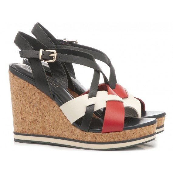 Tommy Hilfiger Women's Sandals Wedge Heels Interwoven Blu