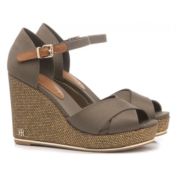 Tommy Hilfiger Women's Sandals Wedge Heels Feminine Olive