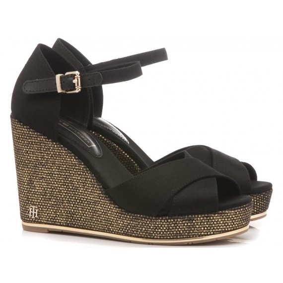 Tommy Hilfiger Women's Sandals Wedge Heels Feminine Black