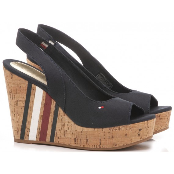 Tommy Hilfiger Women's Sandals Wedge Heels Sling Blu