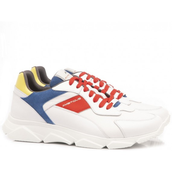 Ambitious Men's Shoes-Sneakers Leather White-Multicolor 8894
