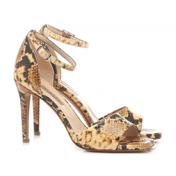 Albano Women's Sandals High Heels Python Yellow 1214