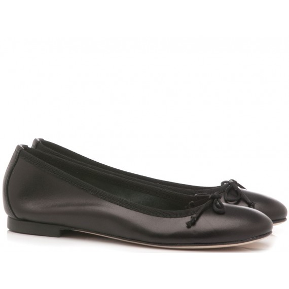 Gianluca Pisati Women's Ballerina Shoes Leather Black N221