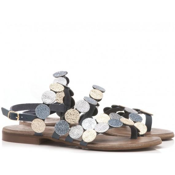 Diciotto Più Sandalo Donna Pelle Blu