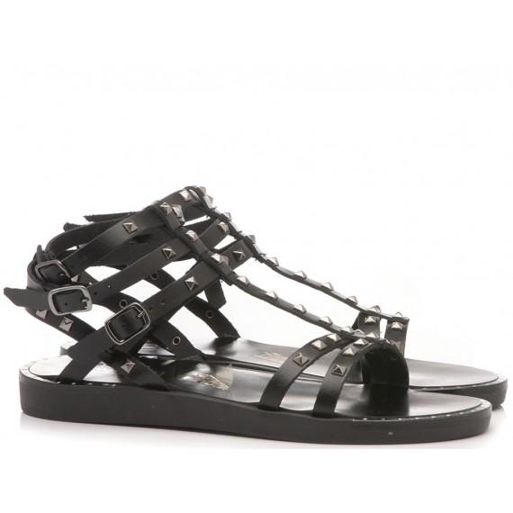 Diciotto Più Sandalo Donna Pelle Nero
